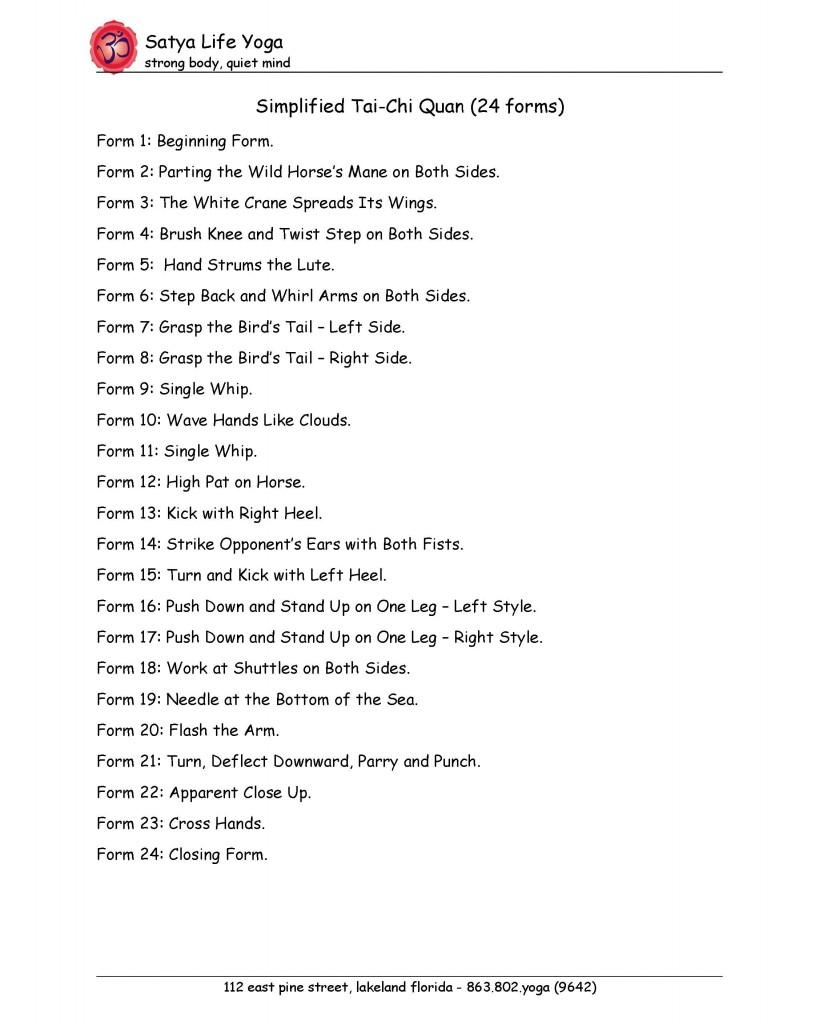 Tai Chi 24 Form PDF | Satya Life Yoga